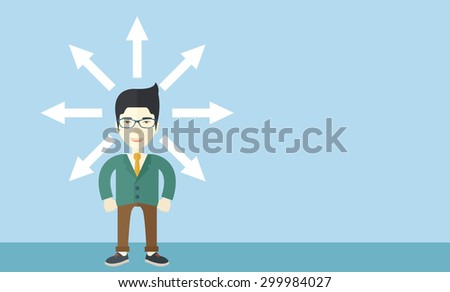 A japanese businessman being confused with too many directions, presenting with arrows, to make decision. A Contemporary style with pastel palette, soft blue tinted background. Vector flat design - stock vector