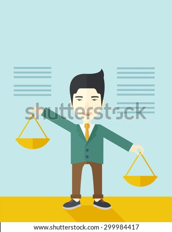 A japanese guy holding a Weighing scale inclined to the other side. Balancing concept. A Contemporary style with pastel palette, soft blue tinted background. Vector flat design illustration. Vertical - stock vector