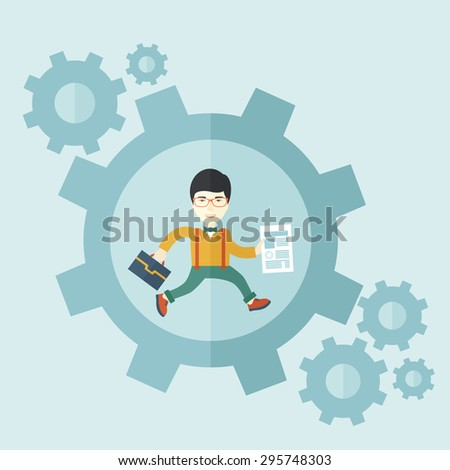A japanese guy running while carrying a bag and paper as his business proposal inside the big gear. Business concept. A contemporary style with pastel palette soft blue tinted background. Vector flat - stock vector