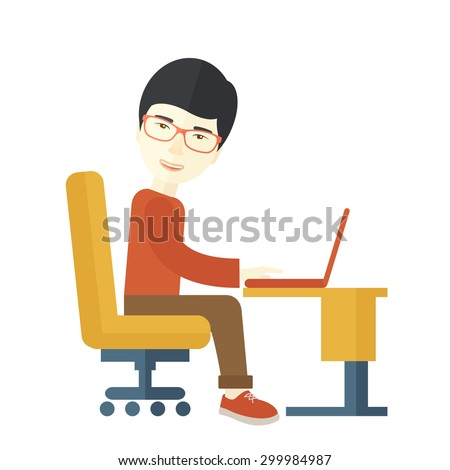 A japanese guy sitting in front of the computer looking for a job online. A Contemporary style. Vector flat design illustration isolated white background. Square layout - stock vector