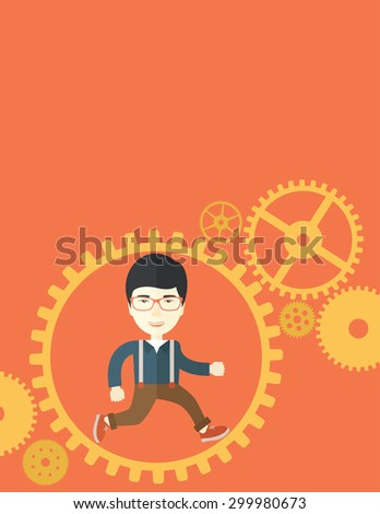 A japanese man with a beard is running inside the gear. Business in action concept. A Contemporary style with pastel palette, orange tinted background. Vector flat design illustration. Vertical layout - stock vector