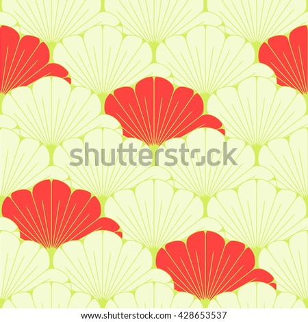 a Japanese style seamless tile with exotic foliage pattern in soft green and red - stock vector