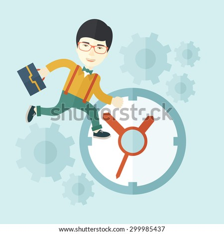 A japanese worker with briefcase is late to Work with a clock symbol. A contemporary style with pastel palette soft blue tinted background. Vector flat design illustration. Square layout.    - stock vector