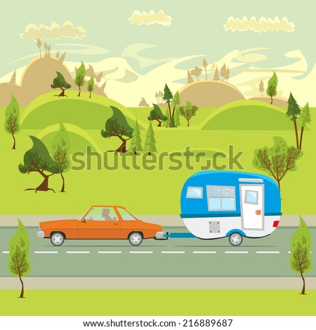 a journey through the beautiful countryside by car. a trip to the camp. trailer. vector illustration. - stock vector