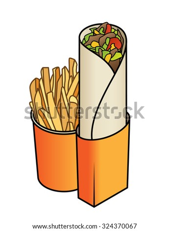 A kebab / shawarma wrap with lettuce, cheese and tomato. With a side of potato chips / french fries. - stock vector