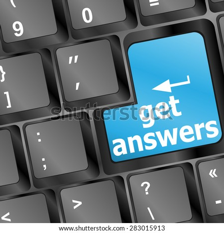 A keyboard with a key reading get answers, vector - stock vector
