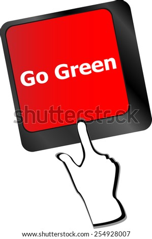 A keyboard with a key reading Go Green - stock vector