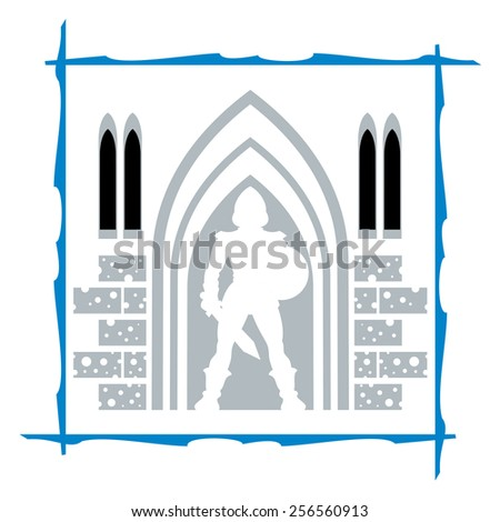 A knight's silhouette standing guard on the gate of fortress - stock vector