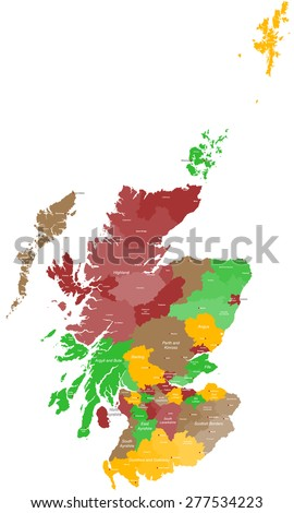 A large and detailed map of Scotland with all areas, counties and cities. - stock vector