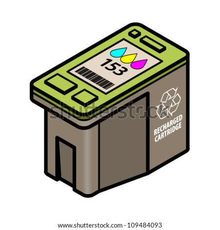 A large-capacity recharged/recycled inkjet printer cartridge with cyan, yellow, magenta colour ink. - stock vector