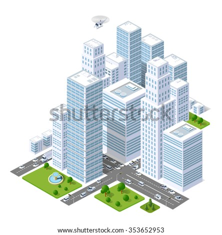 A large city of isometric urban objects. A set of urban buildings, skyscrapers, houses, supermarkets, roads and streets. - stock vector