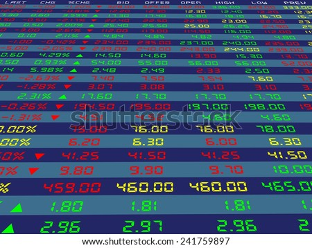 a large display of daily stock market price and quotation viewing from the bottom, vector illustration - stock vector
