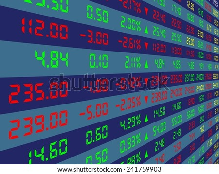 a large display of daily stock market price and quotation viewing from the left, vector illustration - stock vector