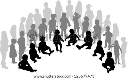 A large group of children - stock vector