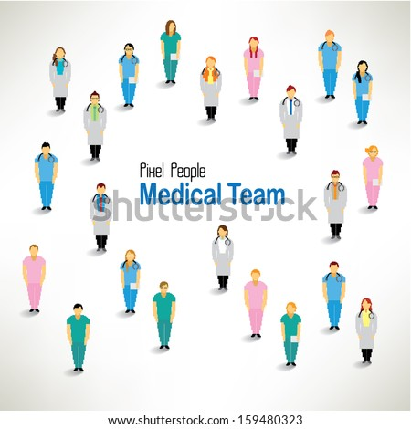 a large group of medical team gather together vector icon design - stock vector