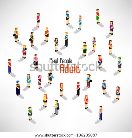 a large group of people and adult vector icon design - stock vector
