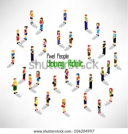 a large group of people and young adult vector icon design - stock vector