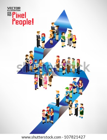 a large group of people gather around the arrow together vector icon design - stock vector