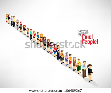 a large group of people queuing up vector icon design - stock vector