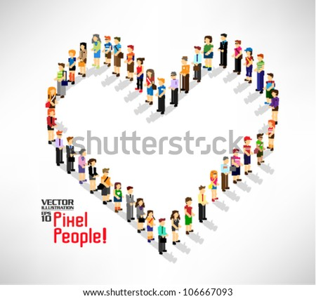 a large group of pixel people forming into love shape vector icon design - stock vector