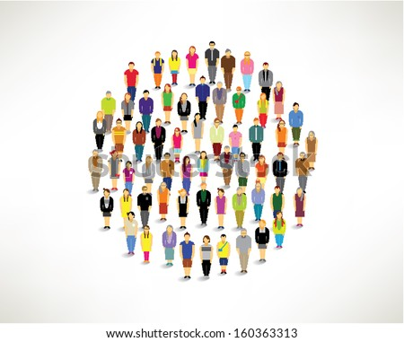 a large group of pixel people gather together vector icon design - stock vector