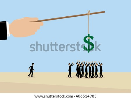 A large hand holds a Dollar symbol on a stick while employees flock around it. A metaphor on management, leadership, motivation and financial incentive. - stock vector
