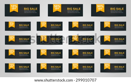 A large set of banners for sale. Ribbon text indicates the percentage discount. - stock vector