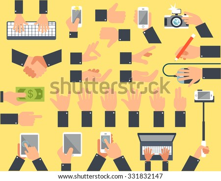 A large set of flat icons hand and equipment, phones, tablets, laptops, computer - stock vector