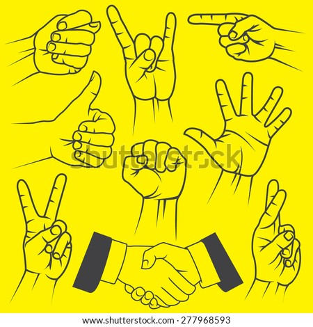 A large set of hand gestures on a yellow background. - stock vector