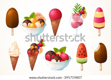 A large set of ice cream. Different types, many flavors. Icons, design, logo. - stock vector