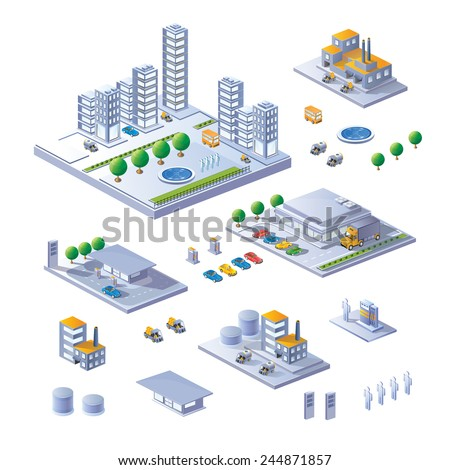 A large set of isometric buildings, buildings and transport. - stock vector