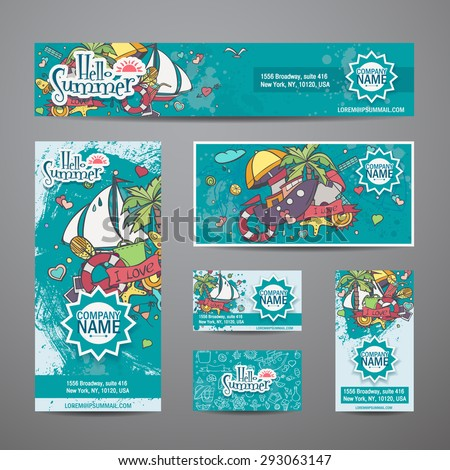 A large set of vector invitations with summer style - stock vector
