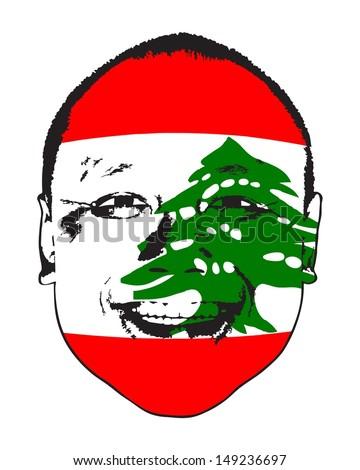 A Lebanon flag on a face, isolated against white.  - stock vector