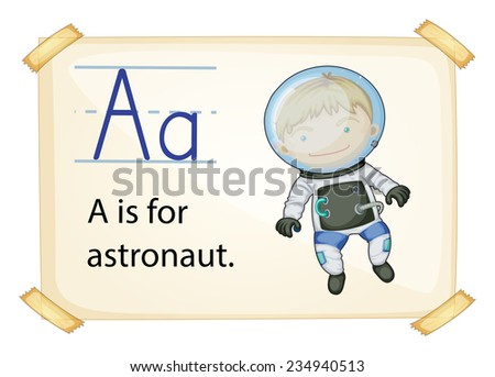 A letter A for astronaut on a white background  - stock vector