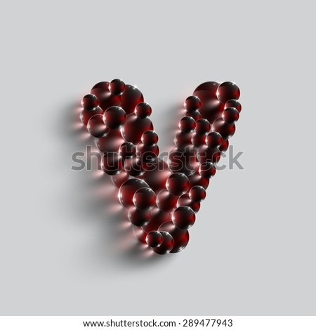 A letter made by red spheres, vector - stock vector