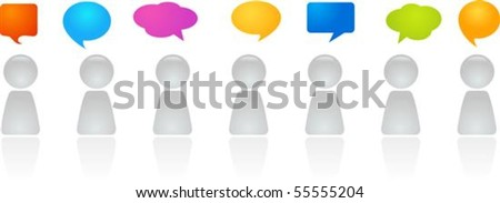 A line of abstract figures with speech bubbles - stock vector