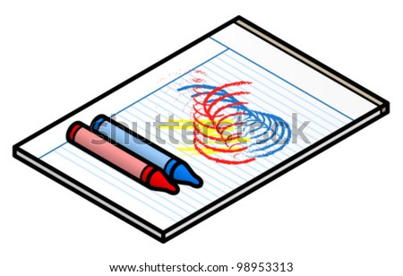 A lined-paper notepad with a colorful doodle and two crayons. - stock vector