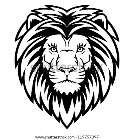 A Lion head  logo in black and white. This is vector illustration ideal for a mascot and tattoo or T-shirt graphic. - stock vector