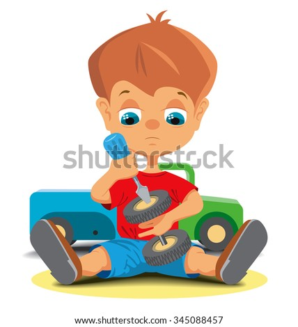 A little boy repairing toy car. Vector illustration - stock vector