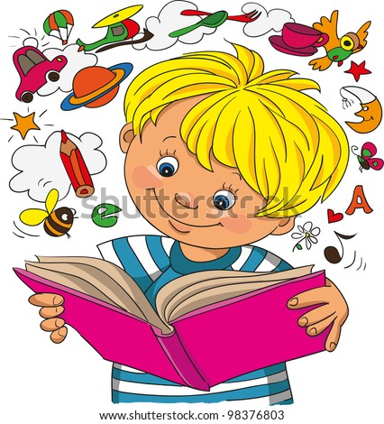 A little boy studies on a book, objects take off from a book - stock vector