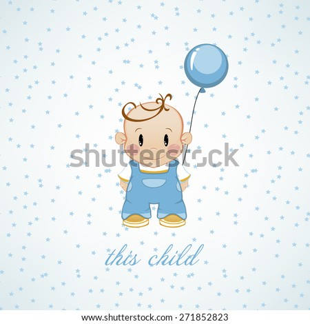 A little boy with inflatable balls and stars. The birthday child - stock vector