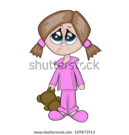 Cartoon little girl crying