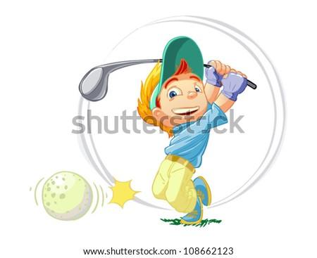 a little golfer - stock vector