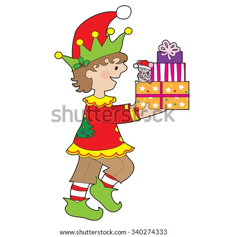 A little male elf is carrying a stack of presents that has a little mouse sitting on them - stock vector