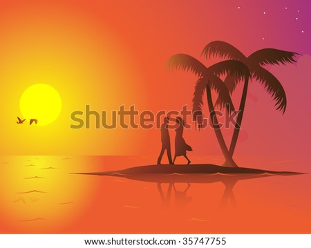 A lonely couple in love on a small island. The sun is down and the mood is romantic. Linear and radial gradients used. - stock vector
