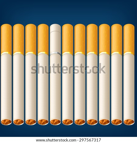 a lot of cigarettes on blue background with one different type - stock vector