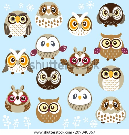 A lot of cute owls - stock vector