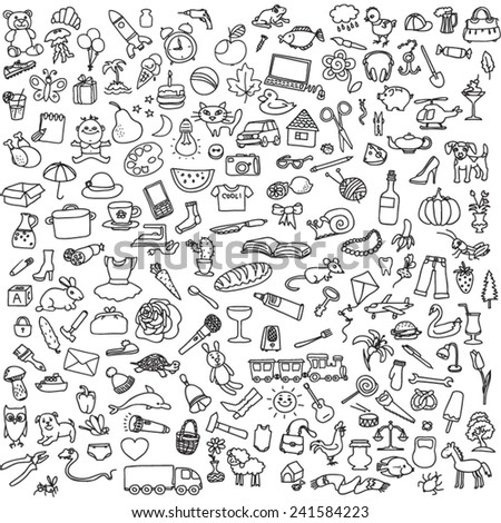 a lot of different pictures on a white background - stock vector
