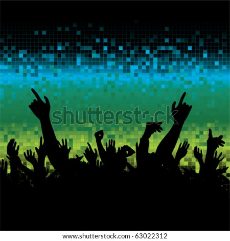 A lot of hands and a pixel background. - stock vector