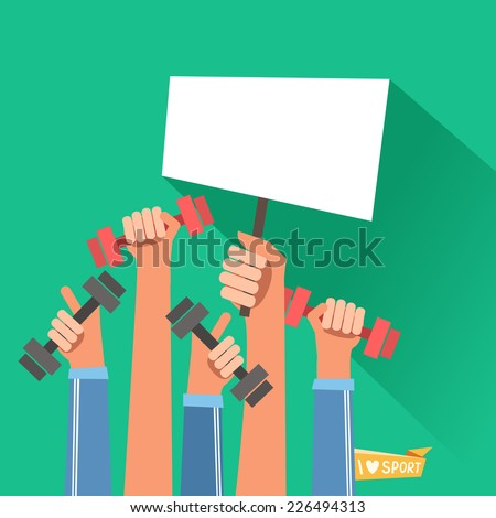 A lot of hands hold dumbbells and placard for text. Sport revolution concept. Vector colorful illustration in flat design - stock vector